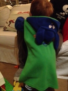 """House coat with removable """"Super Pup"""" cape! Just one of the goodies traded at Once Upon a Child this week."""