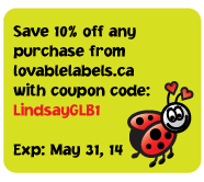 LindsayGLB1 10% off at Lovablelabels.ca