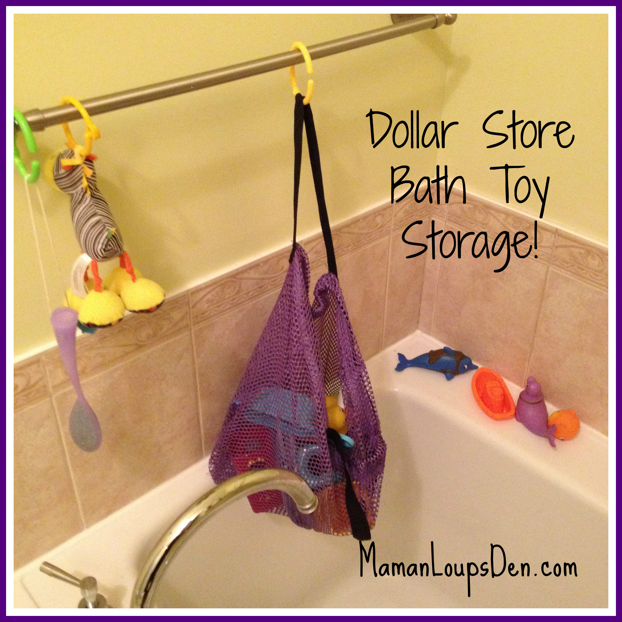Dollarama Mesh Beach Bag Makes Great Bath Tub Storage!