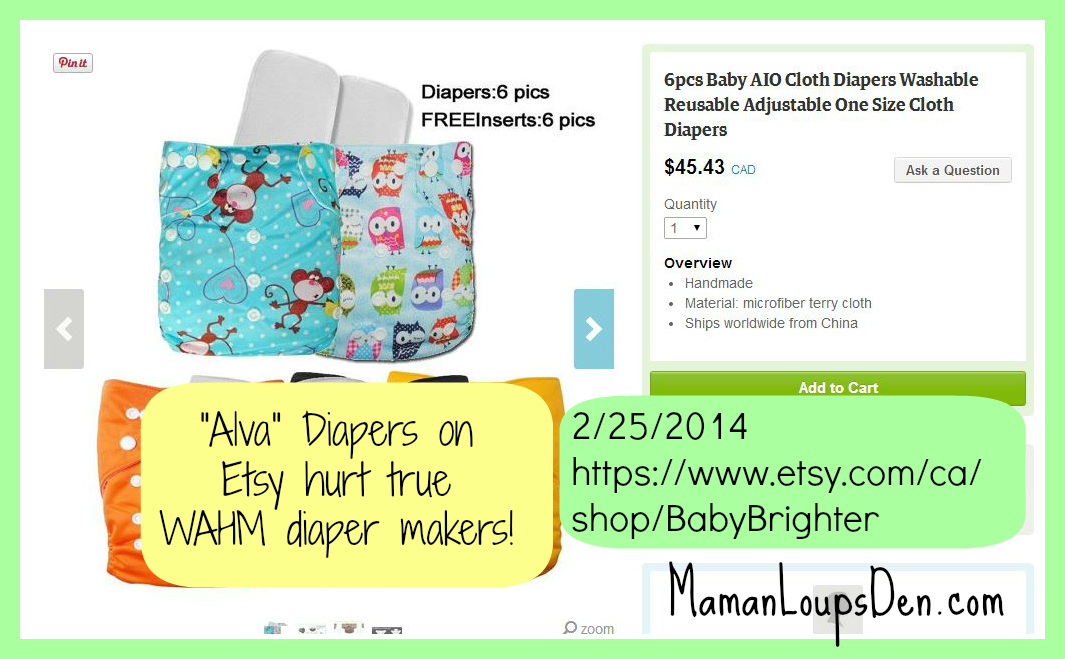 Alva and other China-made diapers do NOT belong on Etsy